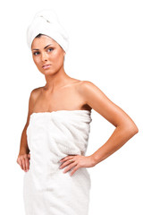 A young woman in towel