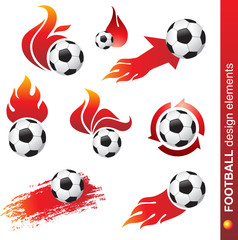 set of football and fire design elements