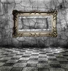 carved gilded frame on silver wall