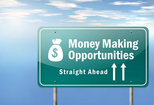 """Highway Signpost """"Money Making Opportunities"""""""