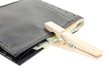 wallet with euro notes keeped with a pin