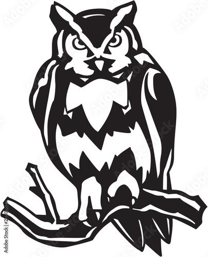 """Great Horned Owl Vinyl Ready Vector Illustration"" Stock ..."