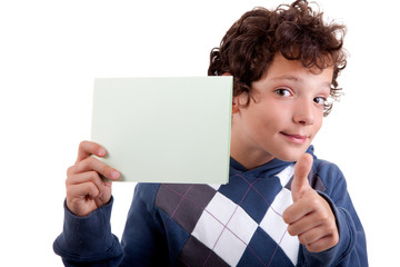 cute boy with a paperboard in hand