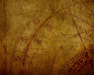 Abstract background with antique clock and copyspace