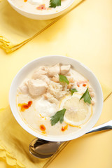 Yogurt chicken and rice soup