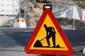 Schwedisches Baustellenschild
