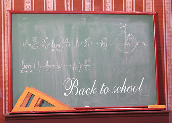 """School board with """" back to school"""" line"""