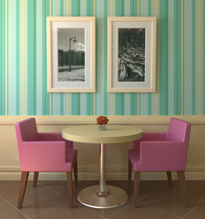 Modern colourful coffee house