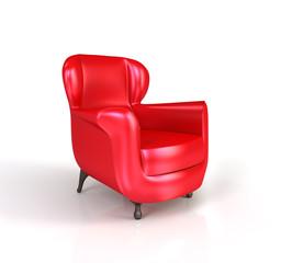 Modern red armchair.