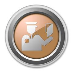 """Bronze 3D Style Button """"Immigration Symbol"""""""