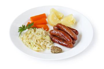 Sausage , Sauerkraut , Potato and Carrot