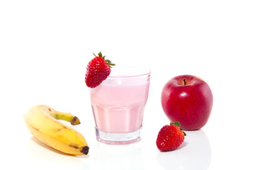a glass with strawberry drinking yoghurt and healthy fruis isola