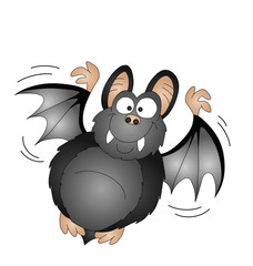Halloween cartoon bat isolated on white background