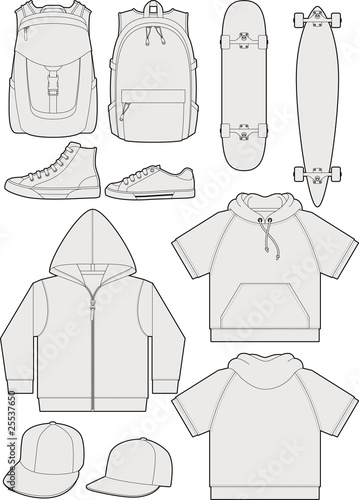 streetwear accessories outline templates stock image and royalty