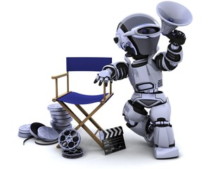 robot with megaphone and directors chair