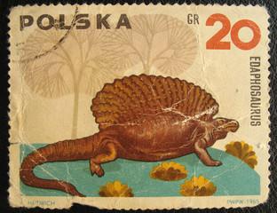 POLAND - CIRCA 1965. Edaphosaurus.