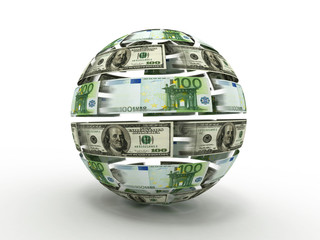 Sphere from dollar and euro on white isolated background. 3d