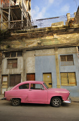 Garden Poster Cars from Cuba Old havana facade and vintage car