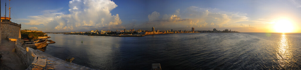 View of Havana from el Morro Fortress at sunset