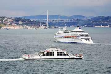 Passenger ship and ferry boat in the Bosporus in Istanbul