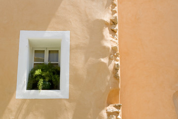 Window, with white decor from Provence village. France.