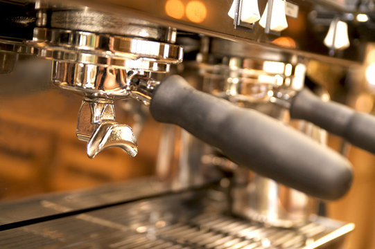 Close-up  of large espresso maker