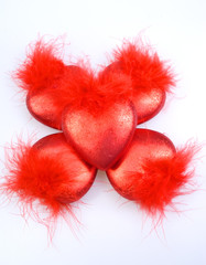 Christmas-tree decorations - five red hearts