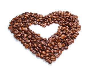 Heart from coffee grains
