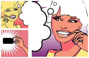 Comics style girl and Hand with a card (raster version)