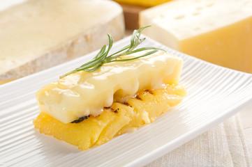 grilled polenta with cheese- polenta grigliata e formaggio