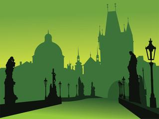 Deurstickers Prague bridge vector