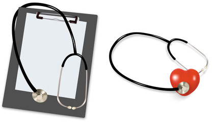 Stethoscope with a clipboard and a heart. Vector.