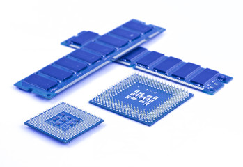 Processors and memory modules on white background