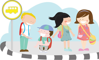 Vector illustration of children waiting for school bus