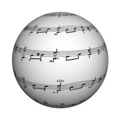 Musical sphere, 3d, it is isolated.
