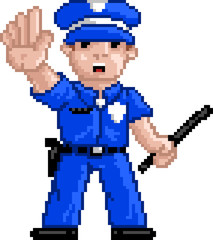 Door stickers Pixel PixelArt: Police Officer