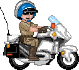 Photo sur Plexiglas Pixel PixelArt: Police Officer n Motocycle
