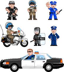 Wall Murals Pixel PixelArt: Police Set