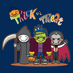 Three boys with costumes going for Trick or treat