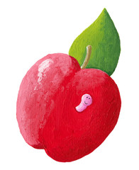 Red apple with cute pink worm