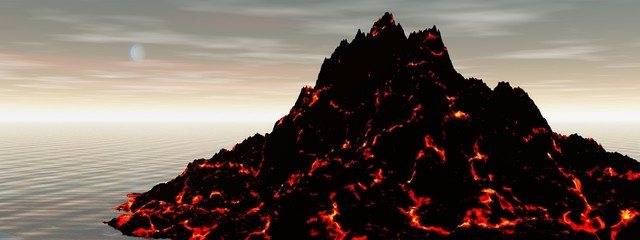 landscape and volcano black and orange