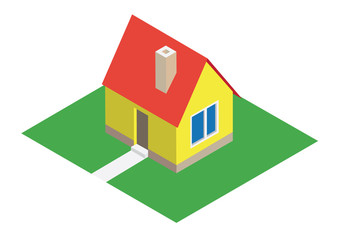 Isometric house with lawn - illustration