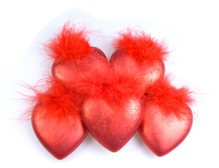 Decorations - five red hearts