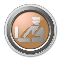 "Bronze 3D Style Button ""Customs Symbol"""