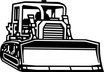 Bulldozer Vinyl Ready Vector Illustration