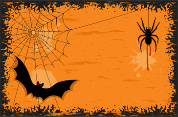 Halloween night with bat and spider - vector EPS AI 8