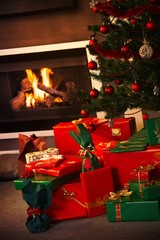 Christmas presents in the living room