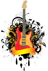 Electric guitar on floral background