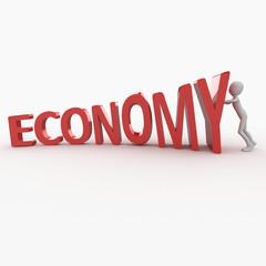 3d man with economy logo