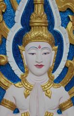Thai art carving on window of temple, Wat Ra Han, Buriram